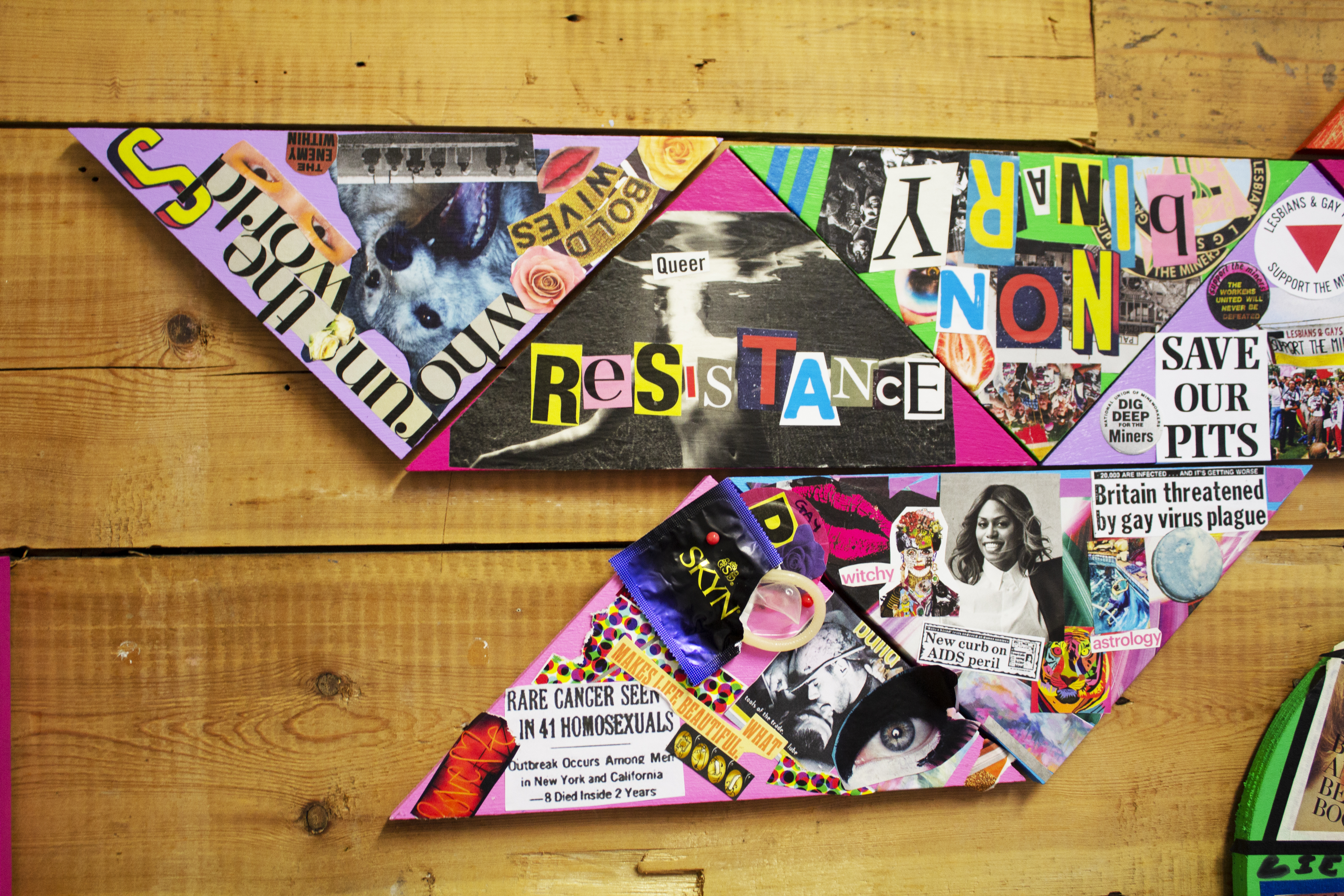 close up of triangle collages that are pieced together, one collage saying 'queer resistance'