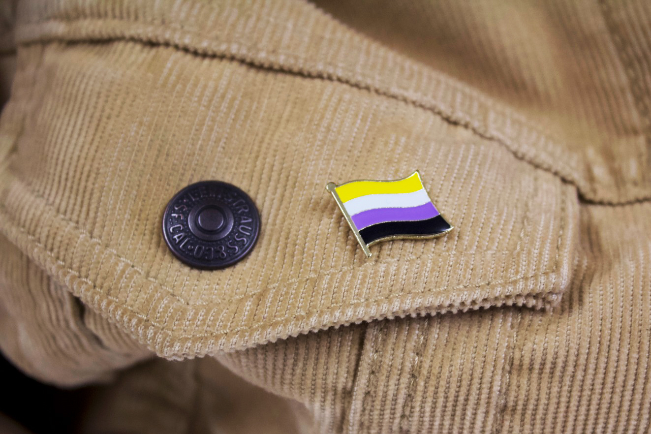 jacket with non-binary flag badge on it